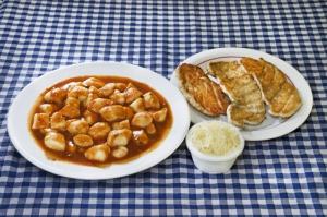 Nhoque de batata com sassami de frango